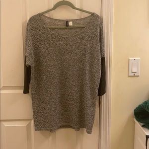 Grey Shirt with Faux Leather Sleeves